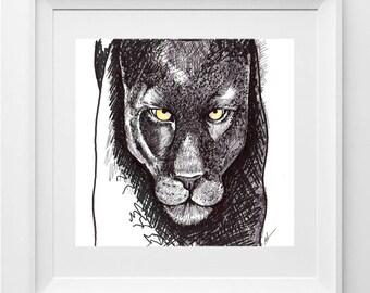 Wild Beast.  Print on paper 200gr. 21x21 centimeters.