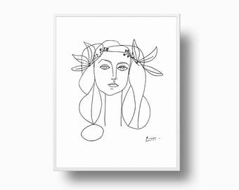 Picasso Girl Print, Picasso Peace, Picasso Poster, Picasso Drawing, Minimalist Print, Picasso Contemporary Line Art, Picasso Face of Peace