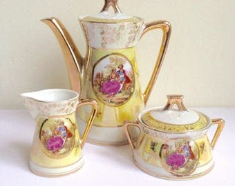 Vintage Demitasse Coffee Tea Pot with Sugar Bowl and Milk Jug