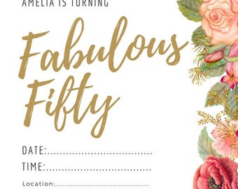 Fifty Birthday Invite , birthday party invite