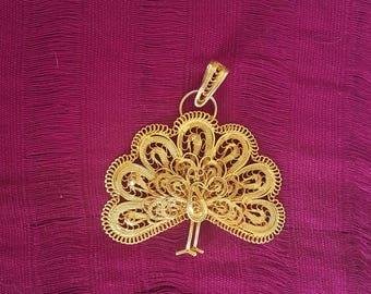 Pendant Peacock filigree Golden Oaxaca Mexico