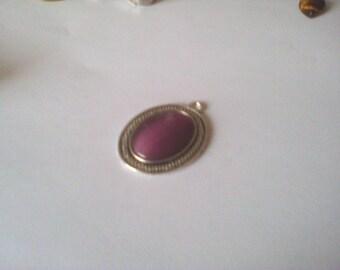 Oval Pendant set, purple cat eye striped ehnique silver aged, 3cm
