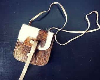 Clutch with shoulder strap - small vintage purse - cowhide Vintage purse cow skin