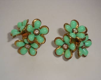 Green Floral Layered Screw Back Earrings