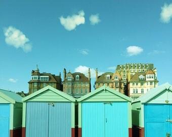 Beach Huts Wall Art, Colourful Beach Huts,  Summer Home Decor, blue, turquoise, Square print