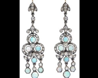 Edwardian rose-cut diamond and opal earrings