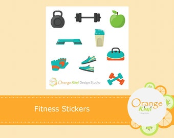 Fitness Stickers, Fitness Sampler Stickers, Erin Condren Life Planner, Happy Planner