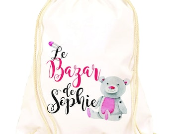 Pink backpack customize Teddy pattern