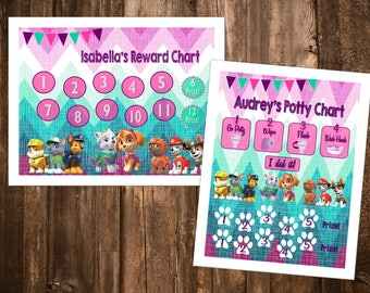 Girls Paw Patrol Themed Reward Chart & Potty Chart - Digital PDF Files - or Minnie, Mickey, Frozen, Paw Patrol, Princesses, and more!
