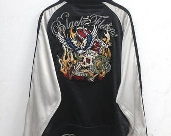 20% OFF Sukajan jacket Vintage Sukajan Jacket Dragon Eagle Fighting Traditional Japanese Embroidery Yokosuka Dragon  Souvenir Satin Jacket &