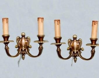 Pair European Bronze Two Light Sconces [2255]