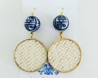 Chinoiserie Rattan Earrings | blue and white, gold, dangle, straw, lightweight, Designs by Laurel Leigh