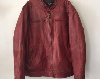 Burgundy leather jacket , vintage style real leather man jacket size large .