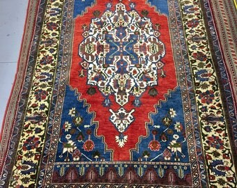 Extraordinary carpet rug 100% wool oriental pattern blue red and beige color warm vintage rug old big rug retro perfect for home&restaurant.