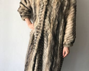 Raccoon fur coat woman size medium .