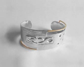 Bracelet en argent et or 14 kt / Silver and 14 kt gold cuff