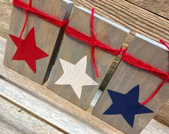 Red, white and blue star blocks, wooden blocks, Independence day decor, Memorial day decor, wood blocks