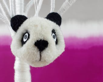 Handmade hanging panda bear ornament. Sculpted wool pom pom with needle felted details.