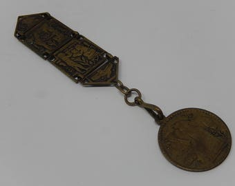 Old Egyptian key holder, with medallion, Free Shipping