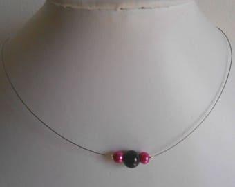 Simplicity fuchsia bridal necklace and black