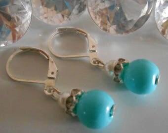 Earrings wedding earrings turquoise and white pearls and rhinestones