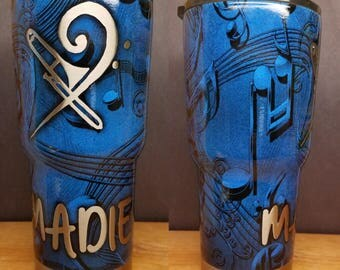 New Personalized 30oz Stainless Steel Tumbler Hydrodiped in Music Notes