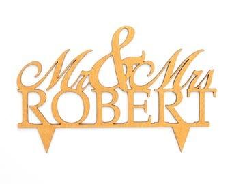 Custom Last Name Mr & Mrs Cake Topper Laser Cut Wood