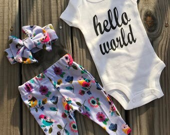 Hello World Baby Girl Coming Home Outfit Garden flowers Pattern /Coming Home From Hospital Outfit /lavender/purple/flower/Gift Idea