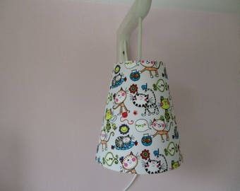 Handmade Lampshade for small pendant, wandering child square (patterns cats) lamp-