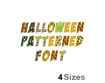 Halloween Pattern - Machine Embroidery Font - 4 Sizes, Lettering, Letters, Alphabet, Font Set, Child Font, Holiday Font, Patterned Font