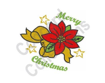 Christmas Poinsettia - Machine Embroidery Design
