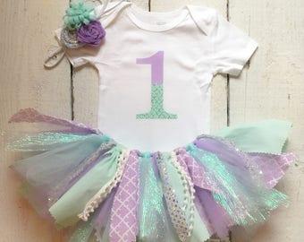 Mermaid tutu , mermaid outfit , mermaid birthday outfit, fabric tutu ,mermaid tutu , mermaid first birthday second birthday