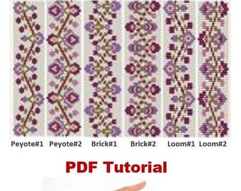 Beading Loom –Brick – Peyote (even count) Pattern Bracelet «Currant» Beading Tutorial Instant Download