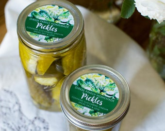 Customized Pickle Canning Label - Watercolor Style Canning Jar Label - Wide Mouth & Regular Mouth - Watercolor Pickles Label