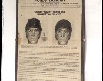 Aged Reproduction Nightstalker Richard Ramirez Wanted Poster in clip frame.