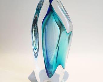 Hand blown Blue Glass Sculpture, Glass Object, Beautiful Glass gift.