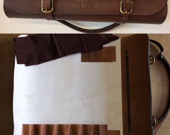 Knife roll vegetable tanned leather