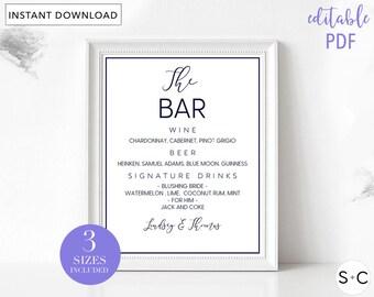 Navy Blue Bar Menu Sign, Wedding Bar Sign, Wedding Bar Menu, Bar Menu, Drink Menu, Signature Drinks, Bar Menu Printable