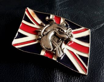 1992 THE BULLDOG BUCKLE Co. England Belt Buckle, Vintage Enamel 1992 The Bulldog Buckle Co Men's Belt Buckle, Bulldog Belt Buckle, Bulldog