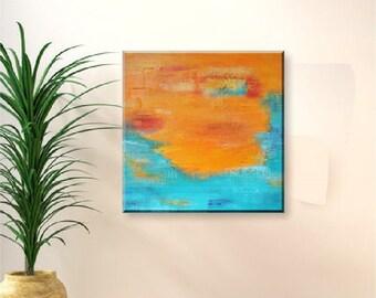 Original Abstract Painting - Allegra II - 50x50 cm - orange blue