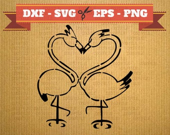 Flamingo DXF SVG Cnc files - love digital cutting file, clipart, cricut, vector, vector heart , DXF files, cnc, vinyl, Silhouette Flamingo
