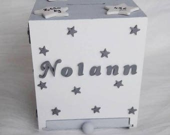 Star piggy bank with name, date, time weight and size of birthstone color, gray and white for baby baptism.