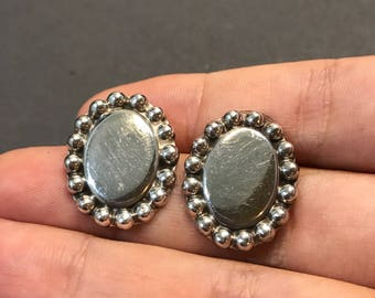 Vintage Sterling silver handmade earrings, solid 925 silver studs with beads around details, stamped 925 Mexico
