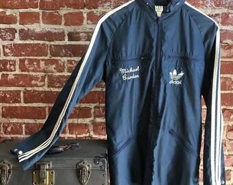 Vintage Seventies 1970s Adidas Men's Windbreaker with Hood. Swin Team on Back. Small to Medium