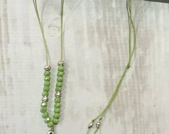 Long feather and green Crystal - Lili and my * Creations