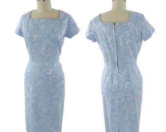 "1960s Blue Damask Cocktail Dress-Jacquard 60s Wiggle Dress-60's Pencil Skirt-Wedding-Classic-Jackie O-M-Med-30"" waist"