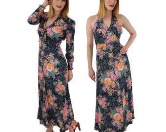 70s Floral Maxi Dress-Jacket Set-1970s Halter Dress-Vintage Flower Print-Nylon Jersey-Garden Party-Wedding-Boho-Romantic-Small-S-Medium-M