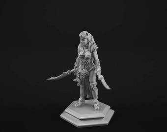 Female Human Fighter miniature for tabletop gaming.