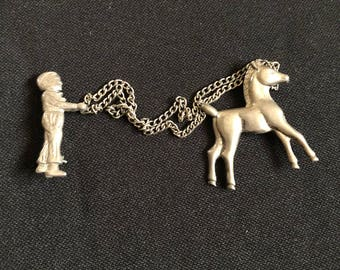 Horse and Jockey Silver Pin w/ Chain Vintage / Vintage Horse