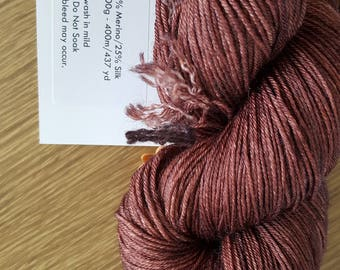 100g 4 Ply 75 Merino/25% Mulberry Silk Luxury Hand Dyed Yarn- Cocoa